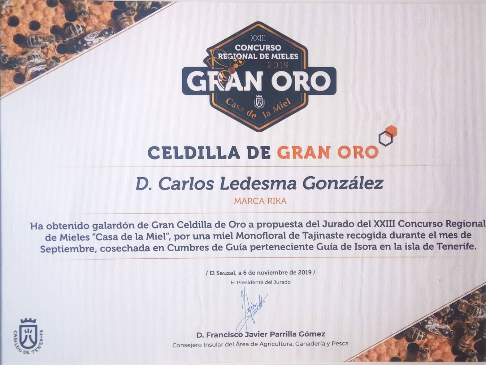 Mejor miel de Canarias DOP 2019